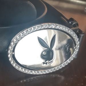 Black Playboy Belt with Reversible Buckle